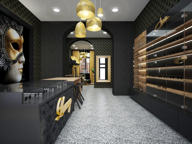 f8f096903f Realizovaný návrh interiéru predajne Duos Praha - luxusný obchod s okuliarmi